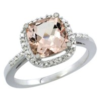 14K White Gold Natural Morganite Ring Cushion-cut 8x8mm Diamond Accent, sizes 5-10