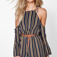 Jonna Open Shoulder Frill Sleeve Stripe Playsuit | Boohoo