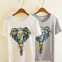 Unique Design Elephant Print Tshirt
