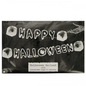 Happy Halloween Banner With Honeycomb Bugs amp; Cobwebs