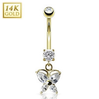 14K Yellow Gold Dangle Butterfly Navel Ring