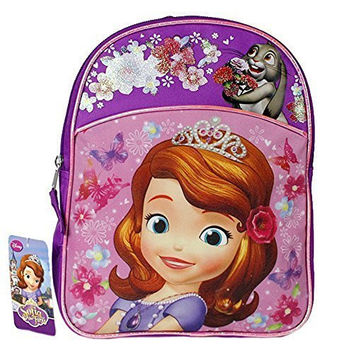 Disney Sofia the First Girls 11' School Backpack Glittered Flower Design