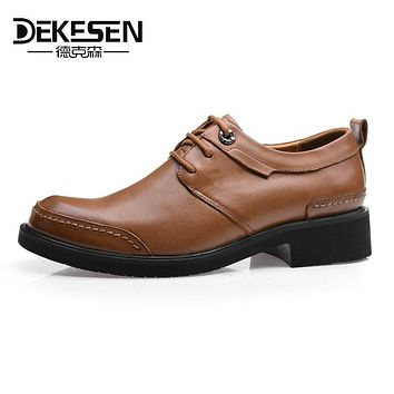 DEKESEN Guaranteed 100% Genuine Leather Men Shoes Business Formal Shoe Man Dress Brogues Oxfords Monk Strap Shoes Zapatos Hombre