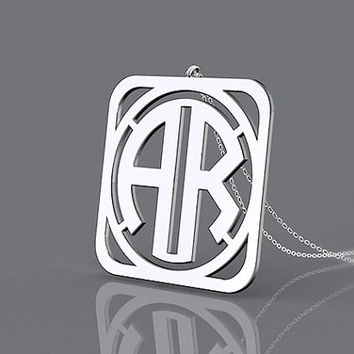 Square circle monogram necklace 925 sterling silver--personalized 2 initial nameplate necklace