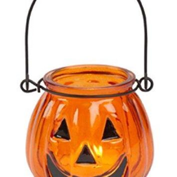 Biedermann & Sons Glass Jack O' Lantern Tealight Holders (Box of 6), Small