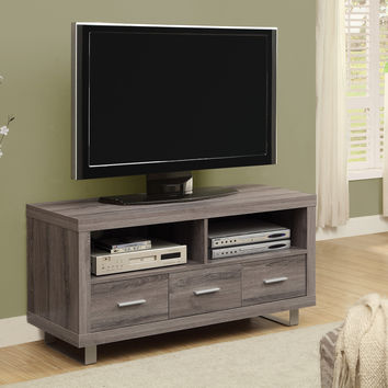 "Tv Stand - 48"" L / Dark Taupe With 3 Drawers"