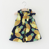 Pineapple Summer Baby Dress for Girls with Bow Sleeveless Vestido Infantil Summer Dresses Baby Clothing
