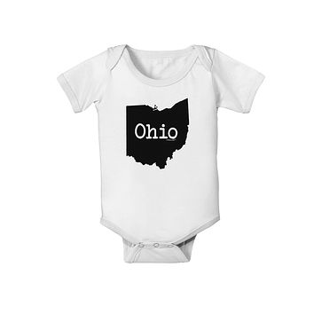 Ohio - United States Shape Baby Romper Bodysuit by TooLoud