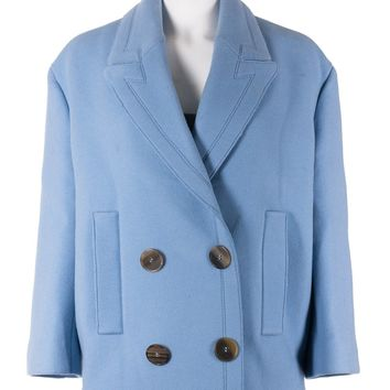 Alexander Mcqueen Womens Blue Wool Double Breasted Peacoat
