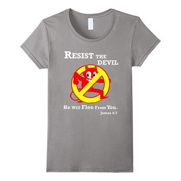 Resist the Devil Bible Verse Funny Christian T-Shirt JVL