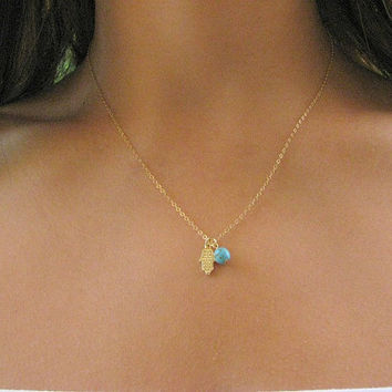 Gold necklace Hamsa gold necklace hamsa necklace by MoonliDesigns