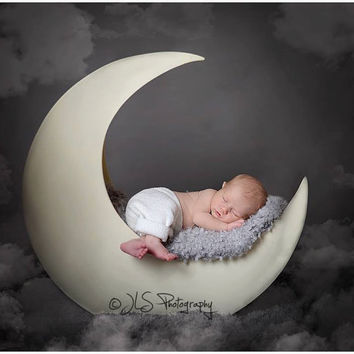 Pjs moon prop painted newborn photography prop baby prop newborn prop