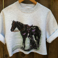 Vtg 90s Cropped Grey and White Striped HORSE Equestrian Sweatshirt Size xs- medium