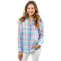 Madras Linen Hadley Popover in Prism Pink by Southern Tide - FINAL SALE
