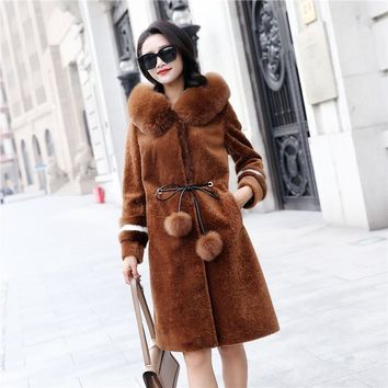 YOLANFAIRY Natural Wool Coat With 100% Real Fox Fur Collar Jackets Winter Women Quality Thickening Hooded Warm Outwear MF282