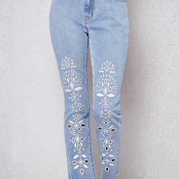 PacSun Eyelet Blue Denim Mom Jeans at PacSun.com