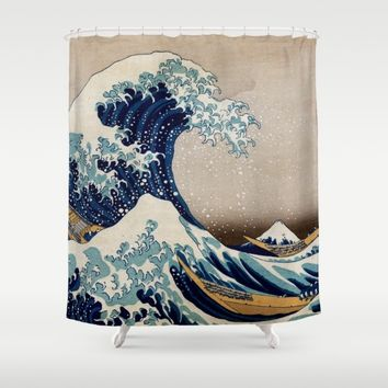 Under the Great Wave by Hokusai Shower Curtain by ArtMasters