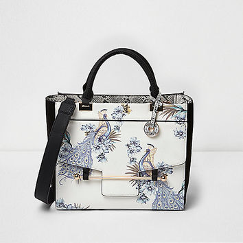 White peacock front pocket tote bag