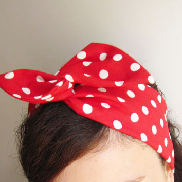 Wire Headband Retro Vintage Hair wrap Red & White Polka dot