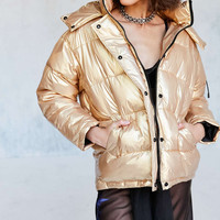 Light Before Dark Ramola Metallic Puffer Jacket - Urban Outfitters
