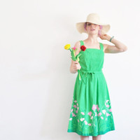 green garden Malia designer dress . spring time floral frock and sash .small .sale