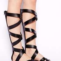 London Rebel Knee High Gladiator Flat Sandal