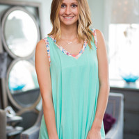 Mint Tunic Top with Floral Trim