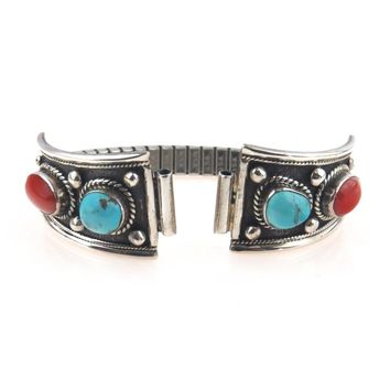 Native American Sterling Silver Watch Band Tips Coral Turquoise, Vintage, 1930s to 1980s