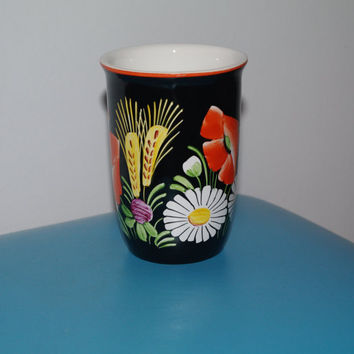 Hand painted Bohemian vintage ceramic mug Floral black cup Made in Czechoslovakia Czech pottery folk art flowers USSR Bohemian porcelain
