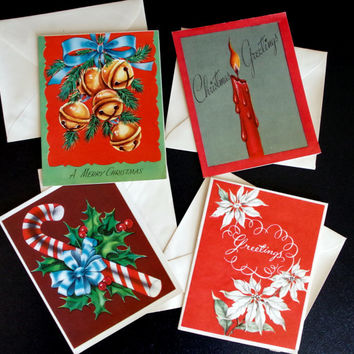 1950s Christmas Cards- Set of 4- Bright Lithographs By Hawthorne House- UNUSED- Candy Cane Poinsettias Bells &Candle- Vintage Greeting Cards