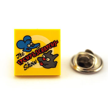 Cartoon Cat and Mouse Tie Pin, Tie Tack Pin, Men's Tie Tacks, Tie Tac, Silver Tie Clip, Tie Clips Men, Wedding Clip, Tie Tack