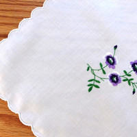Vintage embroidered tablecloth and four napkins, beautiful set, fine embroidery violet flower