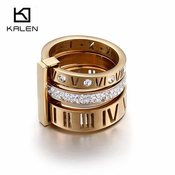 Kalen 2017 Rhinestone Rings For Women Stainless Steel Gold Roman Numerals Finger Rings Femme Wedding Engagement Rings Jewelry