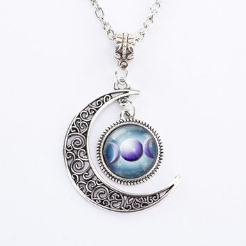 Blue Triple Moon Goddess Pendant Pentacle Planet Necklace Wiccan Jewelry Glass Dome Silver Chain Hollow Pattern Necklaces