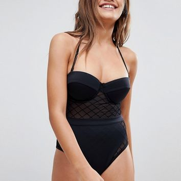 ASOS Diamond Mesh Cupped Swimsuit at asos.com