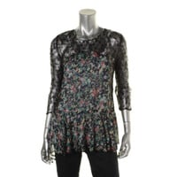 Bar III Womens Chiffon Lace Trim Blouse