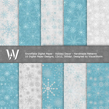 Snowflakes Digital Paper, blue & grey printable backgrounds, images for scrapbooking, winter projects, christmas, parties, Buy 2 Get 1 Free