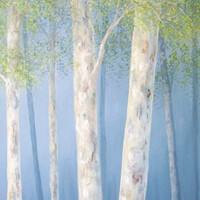Aspen tree art, birch tree art, blue green art, blue green decor, blue green painting,Large canvas art,Artwork,Large wall art,original 14x48