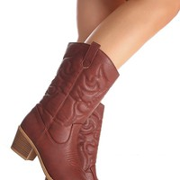 WINE FAUX LEATHER MATERIAL STITCHED DESIGN CASUAL KNEE HIGH COWBOY BOOTS