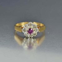 Estate Pink Sapphire and Diamond Engagement Ring