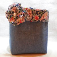Denim Fabric Basket With Paisley Liner and Detachable Fabric Flower Pin