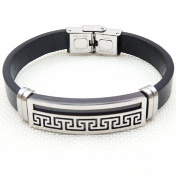Versace stainless steel leather rope bracelet leather rope hand decoration F-LCZD-ALRSP 1