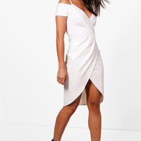 Bella Wrap Cold Shoulder Midi Dress | Boohoo