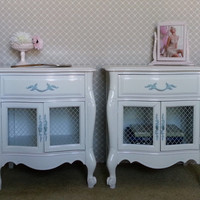 White French Provincial Nightstands - French End Tables - Bedroom Furniture - Storage Cabinet Painted Furniture Upcycled Furniture Sideboard