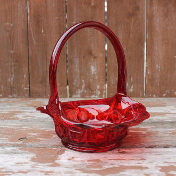 Vintage Fenton Candy Dish or Bowl | Red Basket with Handles and Striped Detail