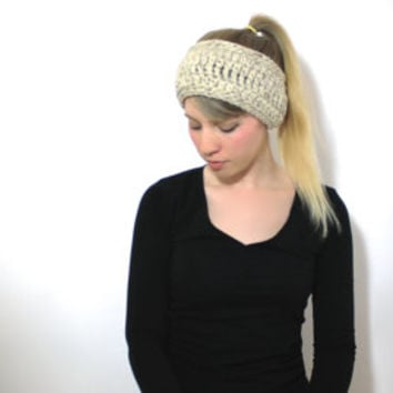 "The ""Stowe"" Crochet Winter Ear Warmer - Oatmeal - Custom Requests Accepted"
