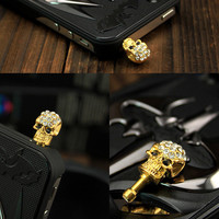human skeleton Earphone Charm Cap Anti Dust Plug for iPhone 5, iPhone 4, Samsung S3