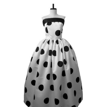 Polkadot Alternative Wedding gown Dot Bridal Couture Bride Ball Gown Black and White Floor length Sassy Mad Men