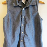 Vintage 1990's Calvin Klein Chambray Sleeveless Button Down