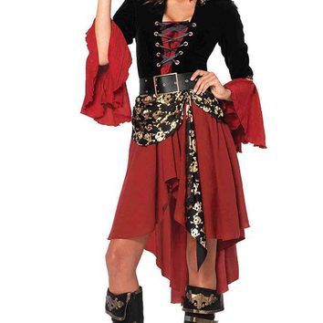 Pirates Treasure Black Burgundy Skull Pattern Long Flare Sleeve Lace Up V Neck High Low Mini Dress Halloween Costume